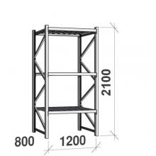Varastohylly perusosa 2100x1200x800 600kg/hyllytaso,3 tasoa peltitasoilla