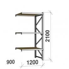 Metallihylly jatko-osa 2100x1200x900 600kg/hyllytaso,3 tasoa lastulevytasoilla
