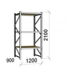 Metallihylly perusosa 2100x1200x900 600kg/hyllytaso,3 tasoa lastulevytasoilla