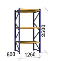 Kevytorsihylly perusosa 2500x1260x800 450kg/hyllytaso, 3 tasoa lastulevytasoilla