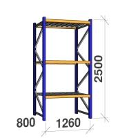 Kevytorsihylly perusosa 2500x1260x800 450kg/hyllytaso, 3 tasoa peltitasoilla