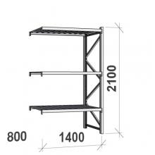 Varastohylly jatko-osa 2100x1400x800 600kg/hyllytaso,3 tasoa peltitasoilla