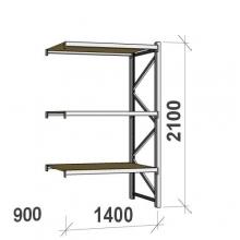 Metallihylly jatko-osa 2100x1400x900 600kg/hyllytaso,3 tasoa lastulevytasoilla