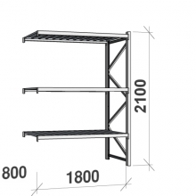 Varastohylly jatko-osa 2100x1800x800 480kg/hyllytaso,3 tasoa peltitasoilla