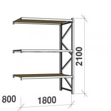 Metallihylly jatko-osa 2100x1800x800 480kg/hyllytaso,3 tasoa lastulevytasoilla