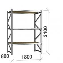 Metallihylly perusosa 2100x1800x800 480kg/hyllytaso,3 tasoa lastulevytasoilla