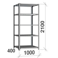 Metallihylly perusaosa 2100x1000x400, 5 tasoa,120kg/taso, harmaa