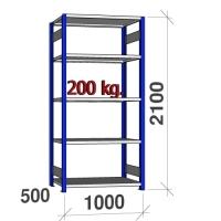 Pientavarahylly perusosa 2100x1000x500 200kg/hyllytasi,5 tasoa, sininen/Zn