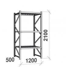 Varastohylly perusosa 2100x1200x500 600kg/hyllytaso,3 tasoa peltitasoilla