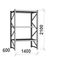 Varastohylly perusosa 2100x1400x600 600kg/hyllytaso,3 tasoa peltitasoilla