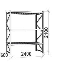 Varastohylly perusosa 2100x2400x600 300kg/hyllytaso,3 tasoa peltitasoilla
