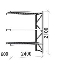 Varastohylly jatko-osa 2100x2400x600 300kg/hyllytaso,3 tasoa peltitasoilla