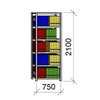 Arkistohylly perusosa 2100x750x400 200kg/hyllytaso,6 tasoa