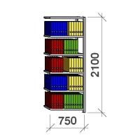 Arkistohylly jatko-osa 2100x750x300 200kg/hyllytaso,6 tasoa