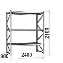 Varastohylly perusosa 2100x2400x800 300kg/hyllytaso,3 tasoa peltitasoilla