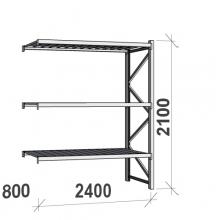 Varastohylly jatko-osa 2100x2400x800 300kg/hyllytaso,3 tasoa peltitasoilla