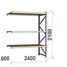 Metallihylly jatko-osa 2100x2400x800 300kg/hyllytaso,3 tasoa lastulevytasoilla