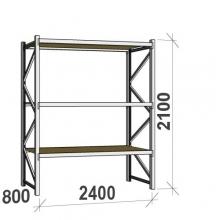 Metallihylly perusosa 2100x2400x800 300kg/hyllytaso,3 tasoa lastulevytasoilla