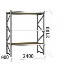 Metallihylly perusosa 2100x2400x900 300kg/hyllytaso,3 tasoa lastulevytasoilla