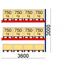 Lavahylly jatko-osa 3000x3600 750kg/lava, 12 EUR lavapaikkaa OPTIMA