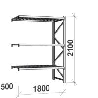 Varastohylly jatko-osa 2100x1800x500 480kg/hyllytaso,3 tasoa peltitasoilla