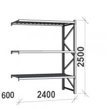 Varastohylly jatko-osa 2500x2400x600 300kg/hyllytaso,3 tasoa peltitasoilla