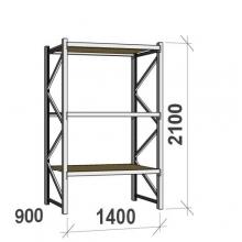 Metallihylly perusosa 2100x1400x900 600kg/hyllytaso,3 tasoa lastulevytasoilla