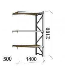 Metallihylly jatko-osa 2100x1400x500 600kg/hyllytaso,3 tasoa lastulevytasoilla