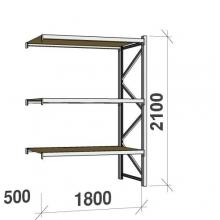 Metallihylly jatko-osa 2100x1800x500 480kg/hyllytaso,3 tasoa lastulevytasoilla
