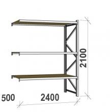Metallihylly jatko-osa 2100x2400x500 300kg/hyllytaso,3 tasoa lastulevytasoilla