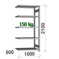 Varastohylly jatko-osa 2100x1000x600 150kg/hyllytaso,5 tasoa