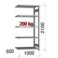 Varastohylly jatko-osa 2100x1000x600 200kg/hyllytaso,5 tasoa