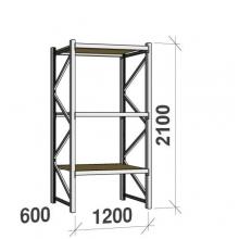 Metallihylly perusosa 2100x1200x600 600kg/hyllytaso,3 tasoa lastulevytasoilla