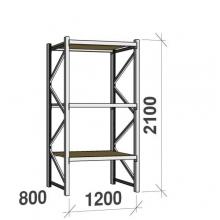 Metallihylly perusosa 2100x1200x800 600kg/hyllytaso,3 tasoa lastulevytasoilla