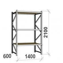 Metallihylly perusosa 2100x1400x600 600kg/hyllytaso,3 tasoa lastulevytasoilla