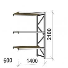 Metallihylly jatko-osa 2100x1400x600 600kg/hyllytaso,3 tasoa lastulevytasoilla
