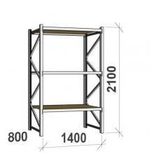 Metallihylly perusosa 2100x1400x800 600kg/hyllytaso,3 tasoa lastulevytasoilla