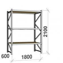 Metallihylly perusosa 2100x1800x600 480kg/hyllytaso,3 tasoa lastulevytasoilla