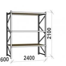Metallihylly perusosa 2100x2400x600 300kg/hyllytaso,3 tasoa lastulevytasoilla