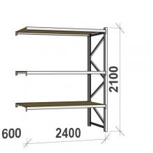 Metallihylly jatko-osa 2100x2400x600 300kg/hyllytaso,3 tasoa lastulevytasoilla