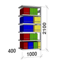 Arkistohylly jatko-osa 2100x1000x400 150kg/hyllytaso,6 tasoa