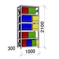 Arkistohylly perusosa 2100x1000x300 200kg/hyllytaso,6 tasoa