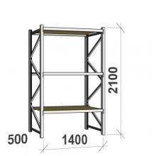 Metallihylly perusosa 2100x1400x500 600kg/hyllytaso,3 tasoa lastulevytasoilla