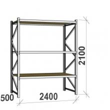 Metallihylly perusosa 2100x2400x500 300kg/hyllytaso,3 tasoa lastulevytasoilla