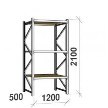 Metallihylly perusosa 2100x1200x500 600kg/hyllytaso,3 tasoa lastulevytasoilla