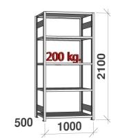 Varastohylly perusosa 2100x1000x500 200kg/hyllytaso,5 tasoa