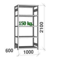 Varastohylly perusosa 2100x1000x600 150kg/hyllytaso,5 tasoa