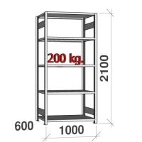 Varastohylly perusosa 2100x1000x600 200kg/hyllytaso,5 tasoa