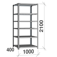 Metallihylly perusaosa 2100x1000x400, 6 tasoa,120kg/taso, harmaa