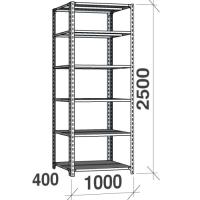 Metallihylly 2500x1000x400, 6 tasoa,120kg/taso, harmaa pylväs/sinkityt hyllyt